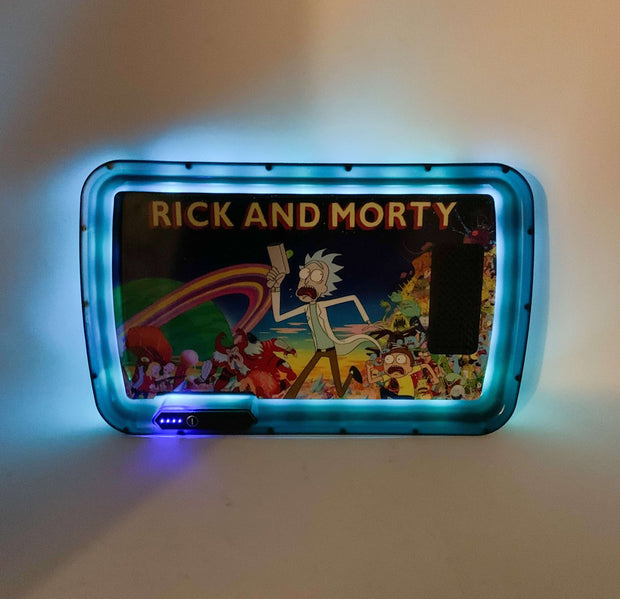 Rick and Morty Rainbow LED Rolling Tray Featuring 7 Colors and Party Mode