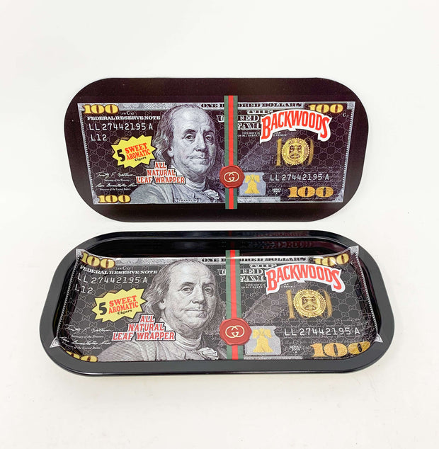 Backwoods Blue Face Hundreds Money Magnetic Rolling Tray with Lid