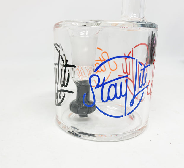 Black StayLit Logo Repeat 6in Barrell Glass Water Pipe/Dab Rig