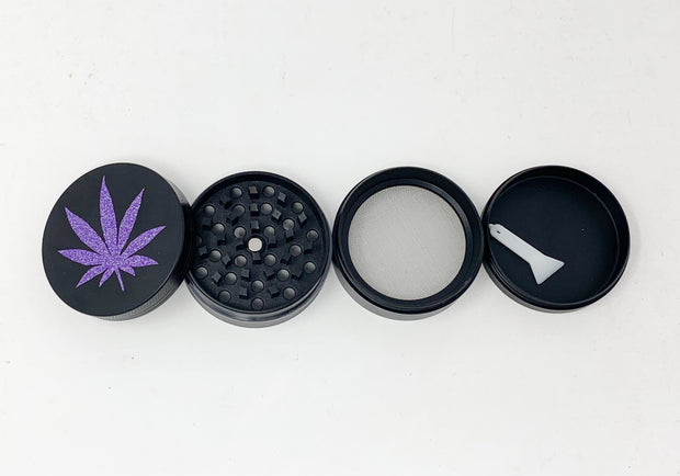 Herb Grinder Purple Weed Leaf Glitter Custom Spice Grinder 4 Piece 55mm W/ Cleaning Tool