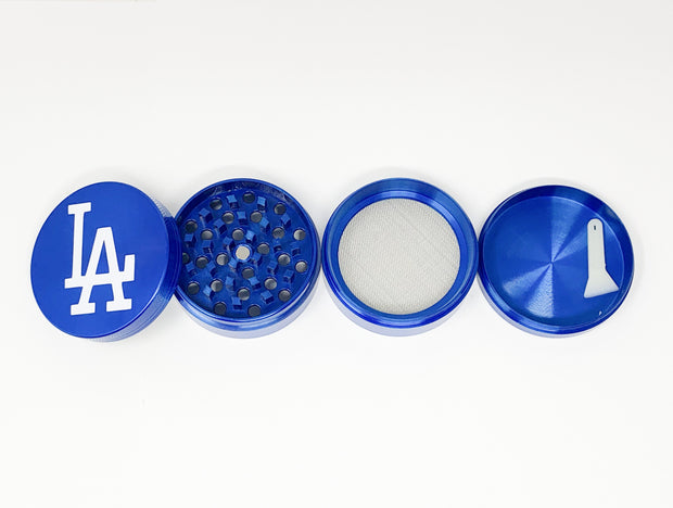 Blue Los Angeles Herb Grinder 4 Piece 55mm W/ Cleaning Tool