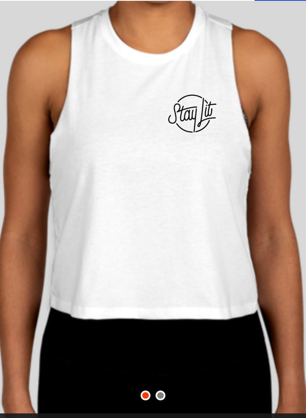 StayLit White and Black Logo Racerback Crop Top