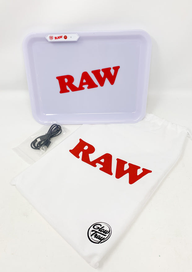Glow Tray x Raw White LED Rolling Tray