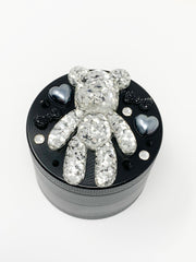 Herb Grinder BearBrick Silver Glitter Swarovski Crystals Weed Grinder 4 Piece 55mm W/ Cleaning Tool