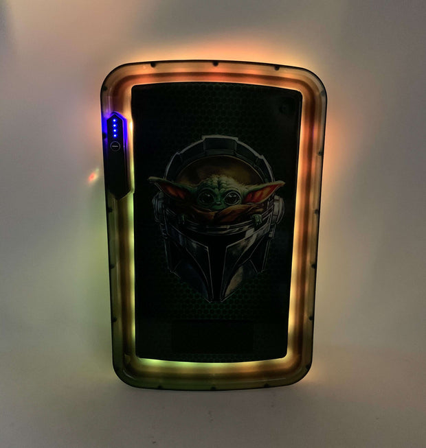 Baby Yoda LED Rolling Tray Featuring 7 Colors and Party Mode