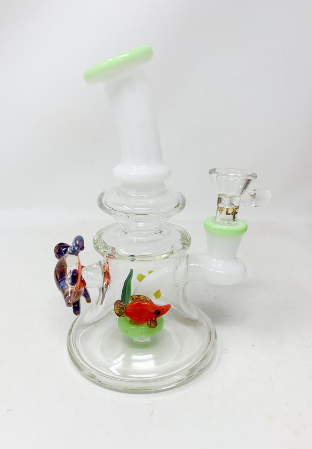 7in Under the Sea Glass Showerhead Perc Water Pipe/Dab Rig
