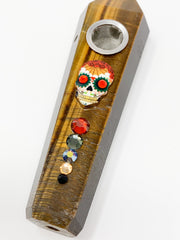 Tigers Eye Crystal Hand Pipe Day of the Dead Swarovski