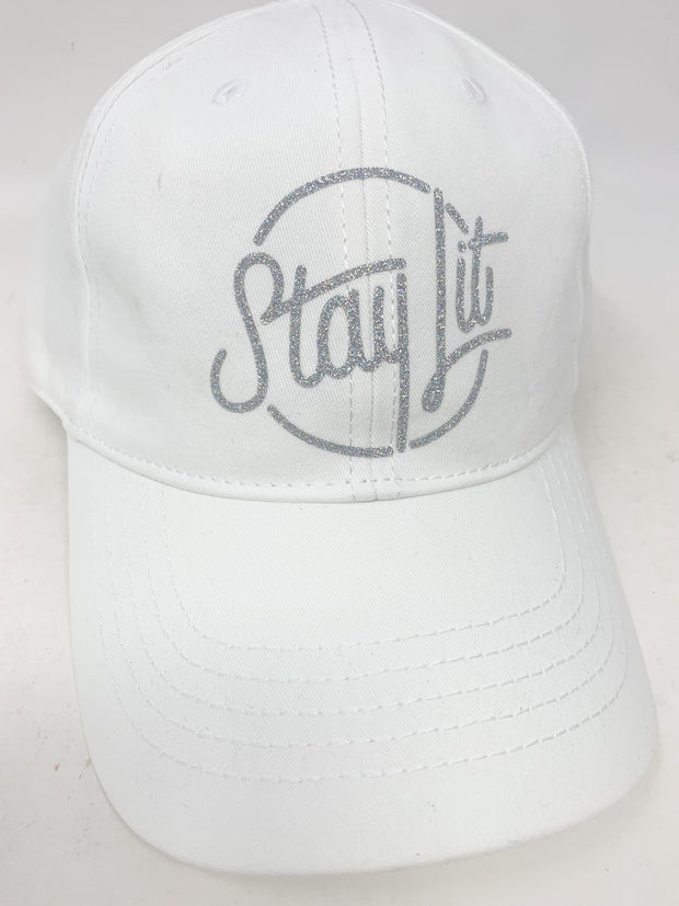 White & Silver Rainbow Glitter Dad Hat/Baseball Hat