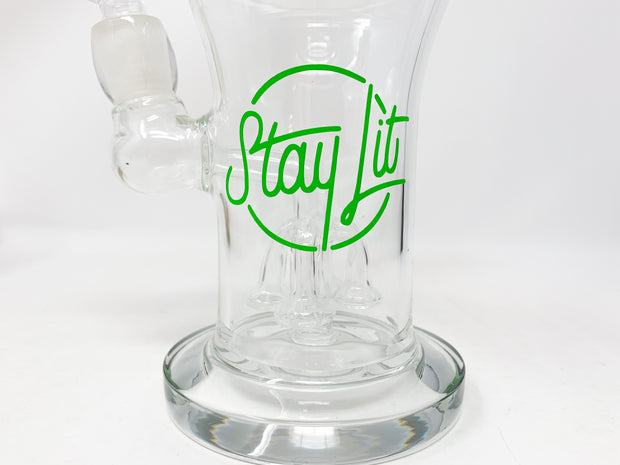 Green StayLit 9in Bent Neck Glass Water Pipe/Dab Rig