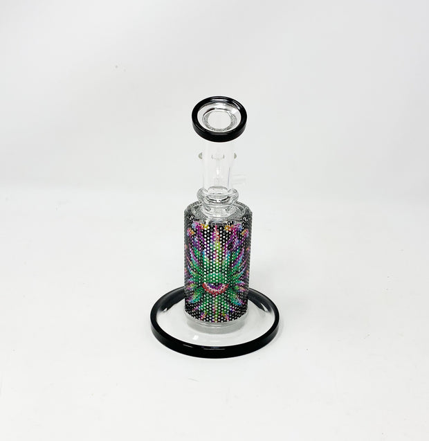 Psychedelic Eye Perforated Vinyl 6.5in Bent Neck Glass Water Hand Pipe/Dab Rig