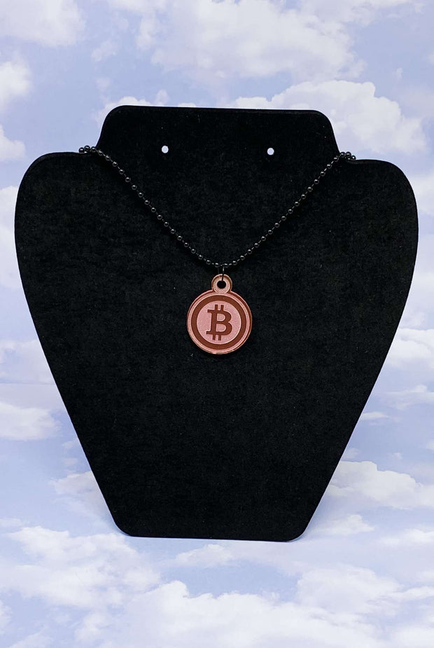Bitcoin Pink Acrylic Necklace