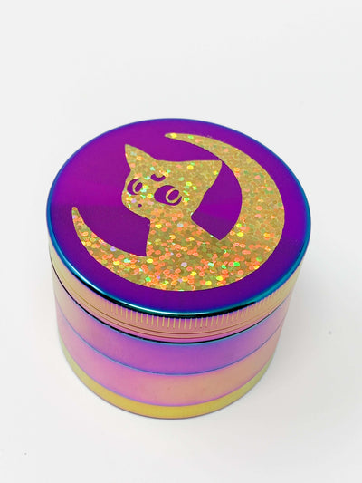 Rainbow Herb Grinder Gold Holographic Cat 4 Piece 55mm W/ Cleaning Tool
