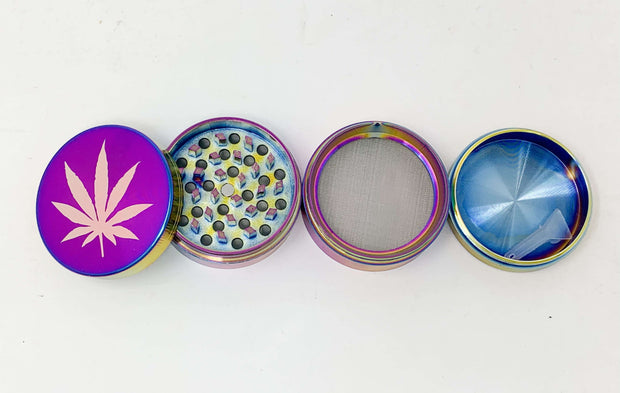 Rainbow Herb Grinder Blue Purple Holographic Weed Leaf Glitter 4 Piece 55mm W/ Cleaning Tool