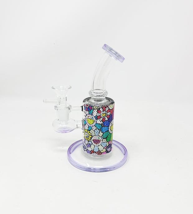 Purple Murakami Perforated Vinly 6.5in Bent Neck Glass Water Hand Pipe/Dab Rig