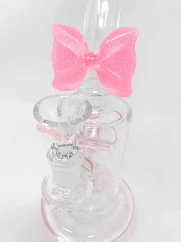 Pink Hello Kitty Swarovski Crystal Bowl Bent Neck Glass Water Hand Pipe/Dab Rig