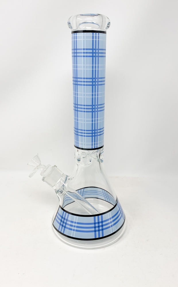 Blue Plaid Beaker Glass Water Pipe/Bong