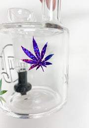 Black StayLit Rainbow Glitter Weed Leaves 6in Barrell Glass Water Pipe/Dab Rig