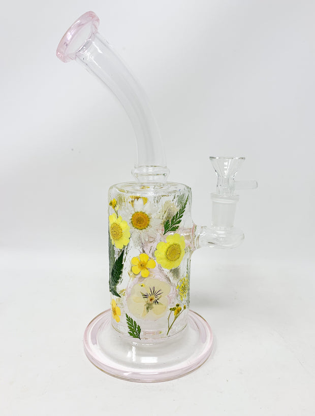 Pink StayLit Dried Flowers 9in Bent Neck Glass Water Hand Pipe/Dab Rig