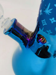 Blue Chameleon LV Pattern Beaker Glass Water Pipe