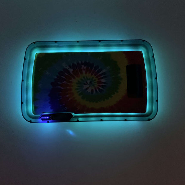 Rainbow Tie Dye LED Rolling Tray Featuring 7 Colors and Party Mode