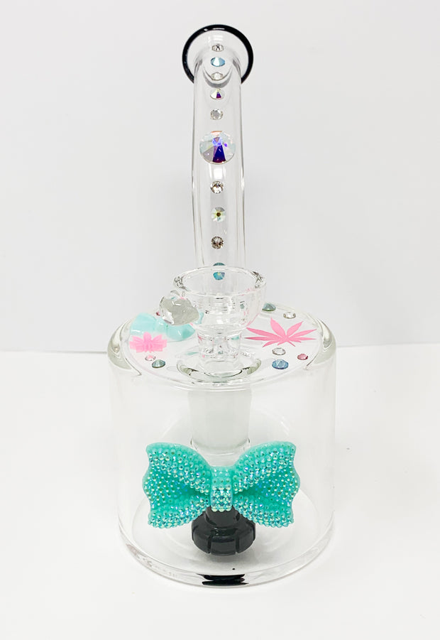 Black StayLit Teal Bow Crystals 6in Barrell Glass Water Hand Pipe/Dab Rig
