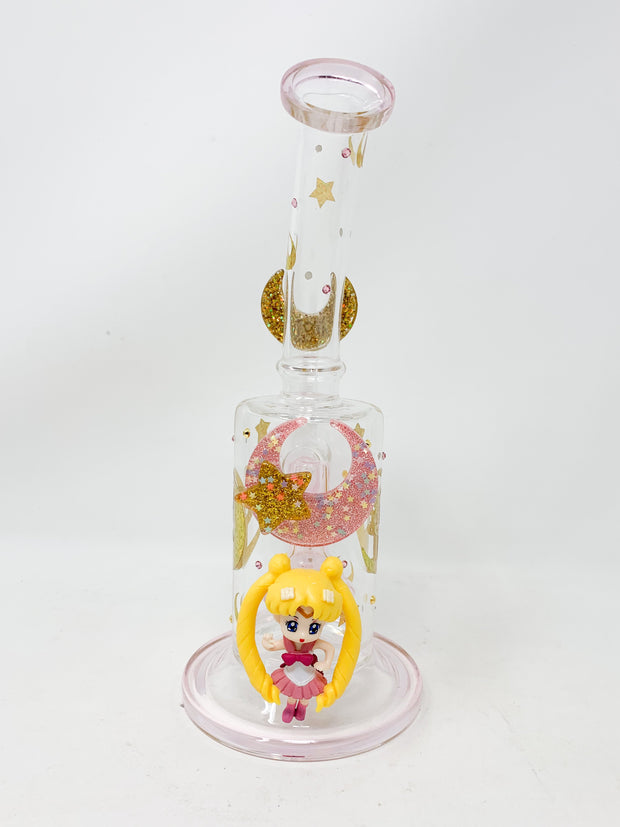 Light Pink Sailor Moon Swarovski Crystal 9in Bent Neck Glass Water Pipe/Dab Rig