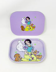 Stoner White Princess Magnetic Lid Metal Rolling Tray