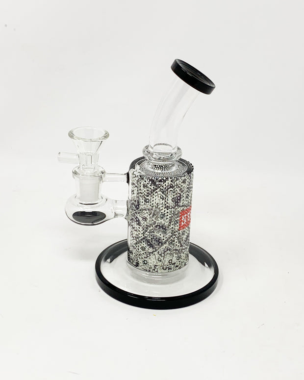 StayLit Money Perforated Vinyl 6.5in Bent Neck Glass Water Hand Pipe/Dab Rig
