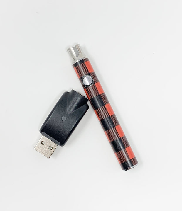 510 Threaded Battery Buffalo Plaid Red Black Vape Pen Starter Kit
