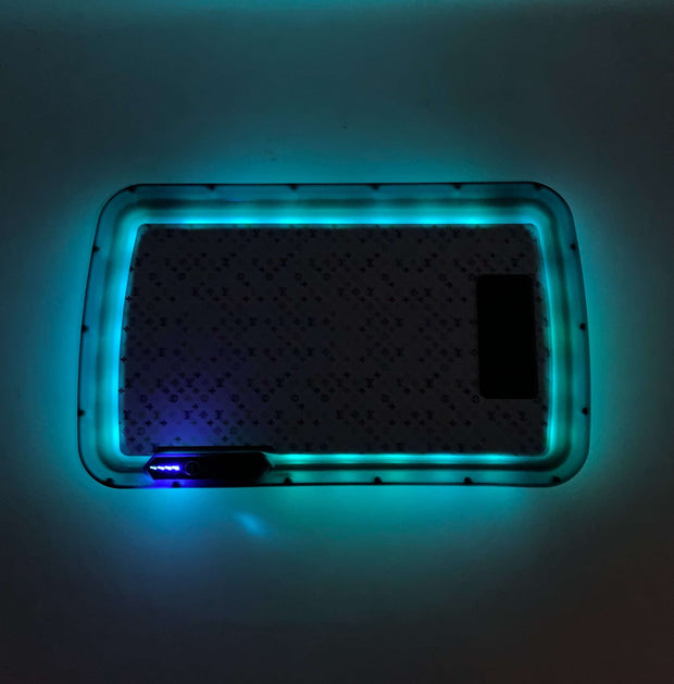White Rainbow LV LED Rolling Tray Featuring 7 Colors and Party Mode
