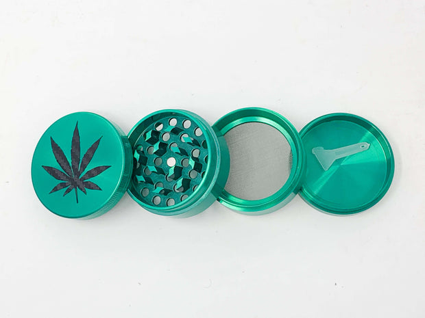 True Green Herb Grinder Carbon Fiber Weed Leaf 4 Piece 55mm W/ Cleaning Tool