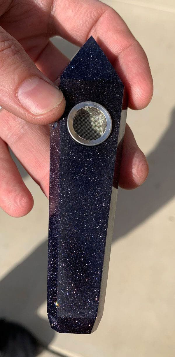 Blue Goldstone Crystal Gemstone Pipe
