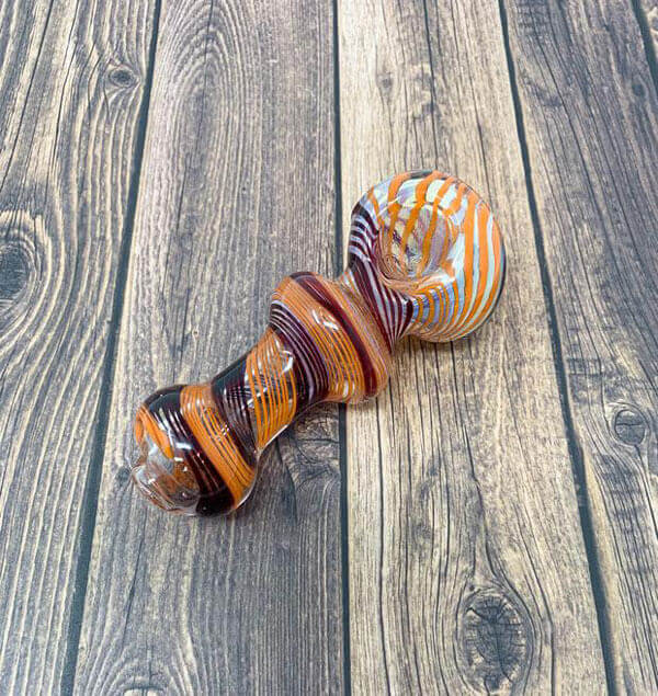 Butterscotch Candy Cane Glass Pipe