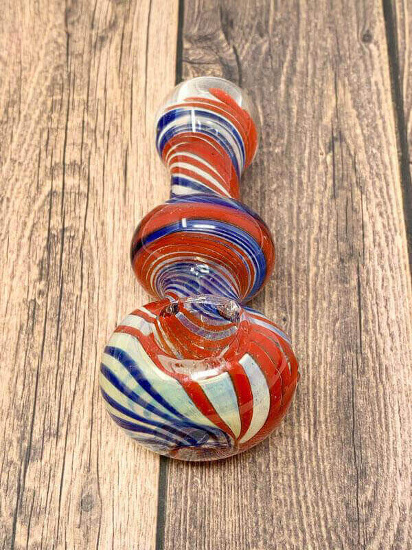 Red White and Blue Swirls Glass Pipe