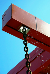 chain on contemporary orange metal house