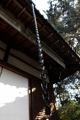 black japanese rain chain hanging on temple