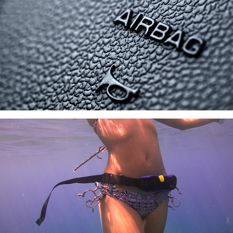 Jelloon is like the airbag on the car. Trigger to save your life in the water.