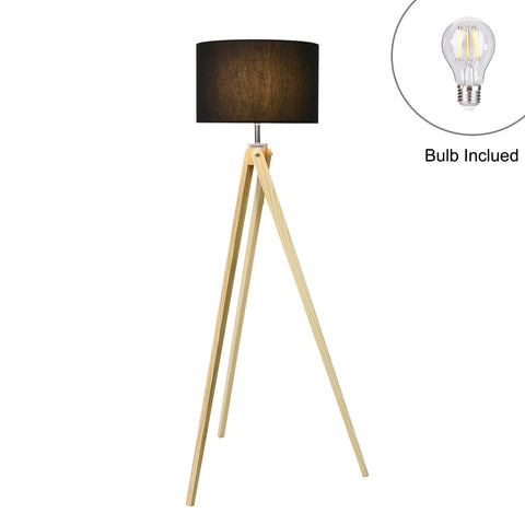 Wooden Floor Lamp, Black, VFL1002, US Plug - viugreum