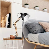 Natural Wooden Swing Arm Table Lamp - Black - viugreum