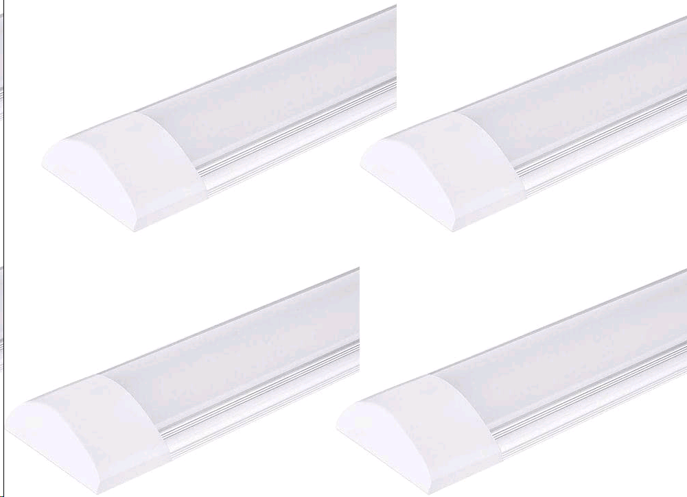 PingoGou 4 Pack 20W Led Tube Lights 2ft,LED Batten Light 60cm 2400LM, LED Tube Ceiling Light Integrated 6500K (Cold White), Fluroscent Tube Light for Office, Bathroom, Kitchen[Energy Class A++]