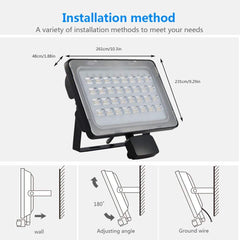 Viugreum 100W LED Flood Light Outdoor, Motion Sensor Security Light, Waterproof IP65, 6000LM, Warm White(2800-3200K), Super Bright PIR Security Lights, for Garden, Yard, Road, Square - viugreum