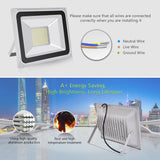 Viugreum 100W LED Flood Light, Waterproof IP65 Outdoor Work Lights, 110V 8000LM Daylight White(6000K), Super Bright Security Floodlights, Wall Lights for Garage, Garden, Yard - viugreum