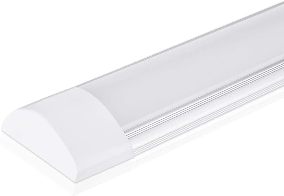 2ft LED Batten Light, Ceiling Tube Light, 3200K, 230V, 20W, 2400 lumen, 130 °beam angle, ceiling light for office, living room, bathroom, kitchen, garage, warehouse (Warm White, 20W)