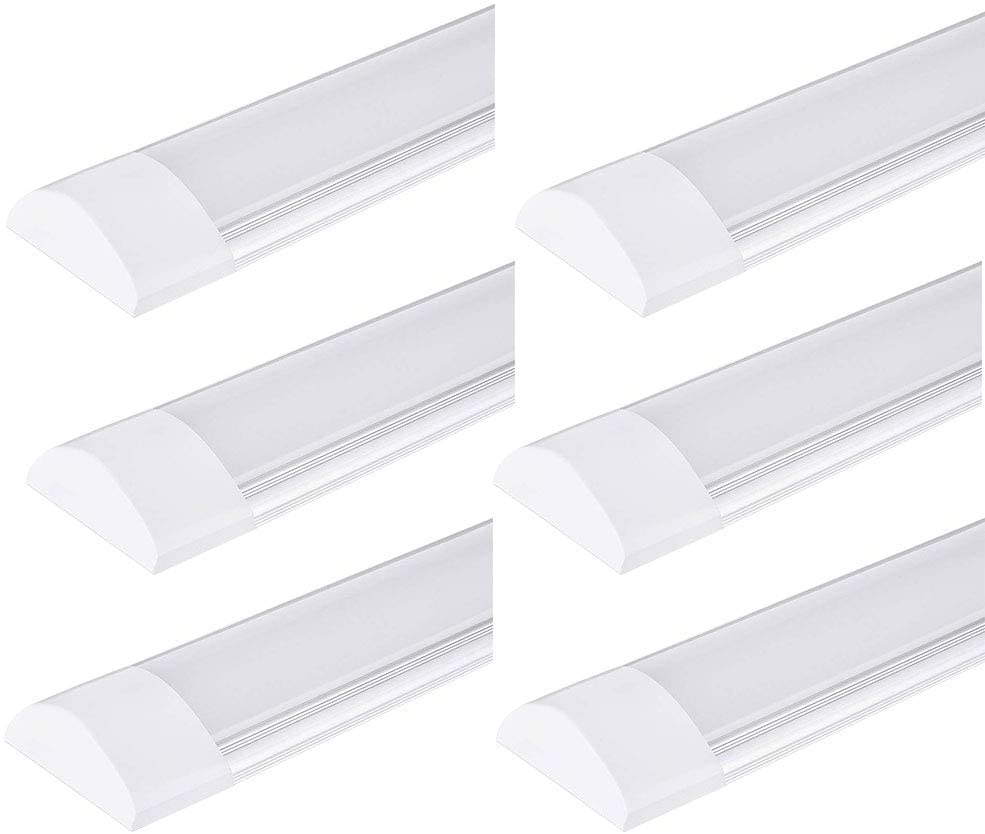 PingoGou 6 Pack 40W Led Tube Lights 4ft,LED Batten Light 120cm 4800LM, LED Tube Ceiling Light Integrated 6500K (Cold White), Fluroscent Tube Light for Office, Bathroom, Kitchen