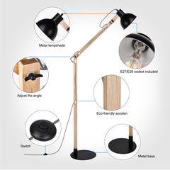LED Wood Floor Lamp, Adjustable Arm Reading Light(Black) - viugreum