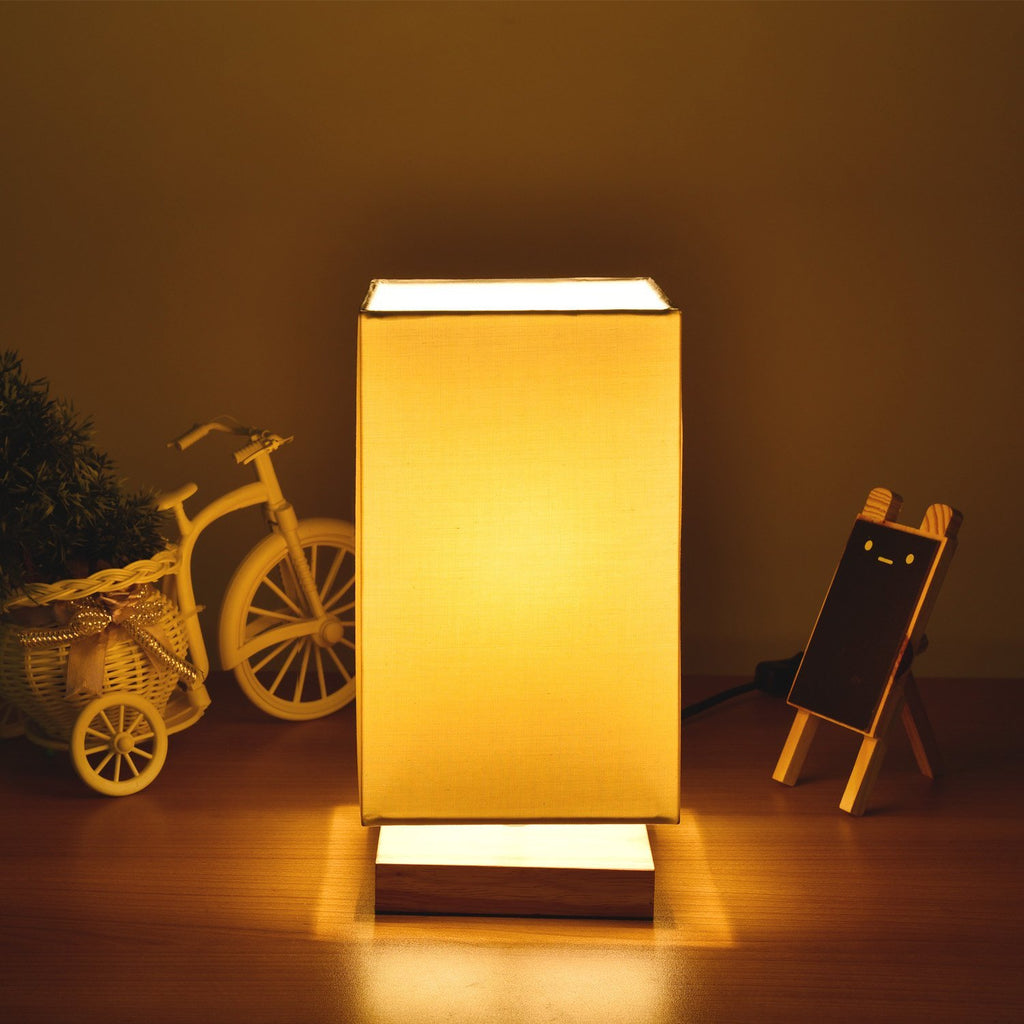 Bedside Table Lamp with Flaxen Fabric Shade Wooden Base (Square -White) - viugreum