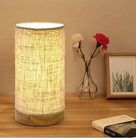 Table Lamp with Flaxen Fabric Shade  (Round-Linen) - viugreum
