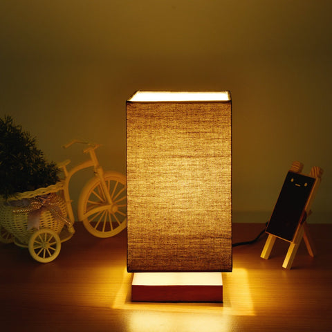 Table Lamp with Flaxen Fabric Shade Wooden Base  (Square -Black) - viugreum