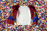White and Rainbow Metallic Tassel Sleeve Sweater