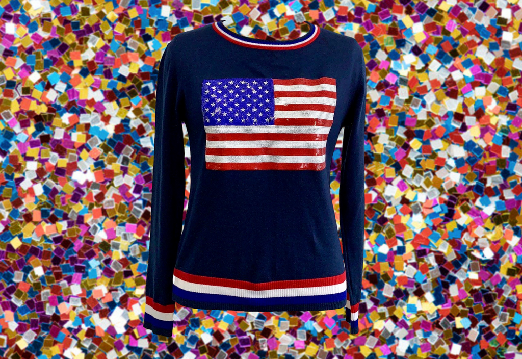 Fancy Flag USA Thin Knit Sweater Navy